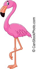 dessin animé, flamant rose, oiseau