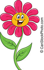 dessin animé, fleur