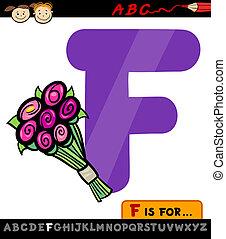 dessin animé, fleurs, lettre, illustration, f