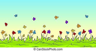 dessin animé, fleurs, seamless, fond, nature