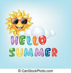 dessin animé, fond, été, soleil