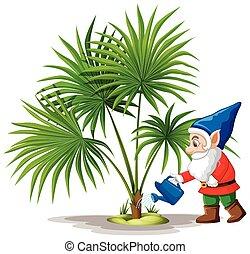 dessin animé, fond, arrosage, caractère, lutin, blanc, position arbre