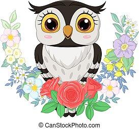 dessin animé, fond, hibou, fleurs