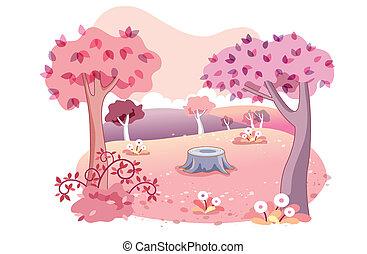 dessin animé, fond, jardin