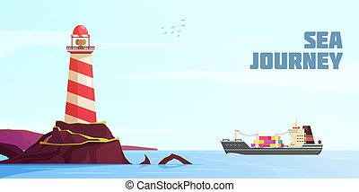 dessin animé, fond, nautique
