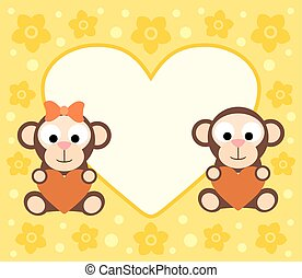 dessin animé, fond, singes