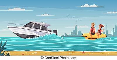 dessin animé, fond, sports nautiques