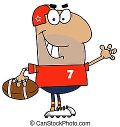 dessin animé, footballeur, homme, hispanique