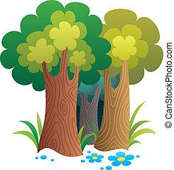 dessin animé, forêt