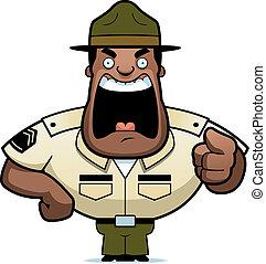 dessin animé, foret, sergent