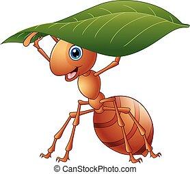 dessin animé, fourmi, tenue, a, feuille verte