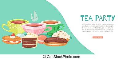 dessin animé, frais, conception, bannière, plat, gâteau, thé, éclair, chocolat, vecteur, tasse, boisson, fête, illustration, toile, chaud, porcelaine, boisson, couper