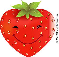 dessin animé, fraise