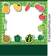 dessin animé, fruit, carte