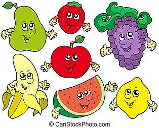 dessin animé, fruits, collection, 2