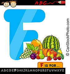 dessin animé, fruits, lettre, illustration, f