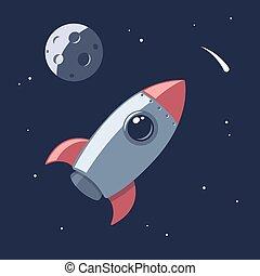 dessin animé, fusée, espace
