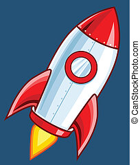 dessin animé, fusée