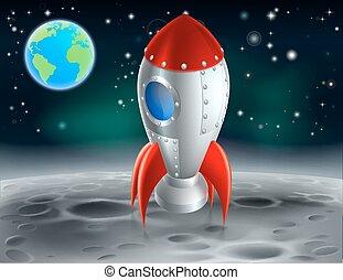 dessin animé, fusée, lune