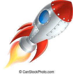 dessin animé, fusée, vaisseau spatial