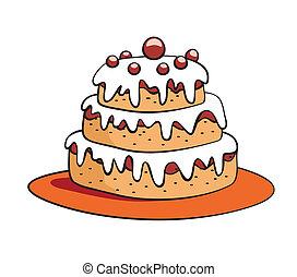 dessin animé, gâteau