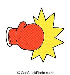 dessin animé, gant boxe