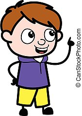 dessin animé, garçon, conversation, heureux