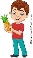 dessin animé, garçon, peu, tenue, ananas