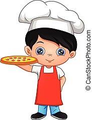 dessin animé, garçon, pizza, chef cuistot