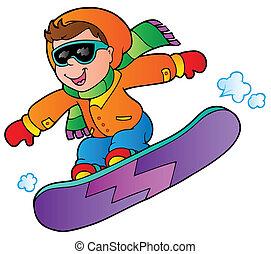 dessin animé, garçon, sur, snowboard