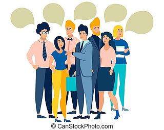 dessin animé, gens, blanc, arrière-plan., minimaliste, talk., vecteur, isolé, style., plat, foule, discuter.