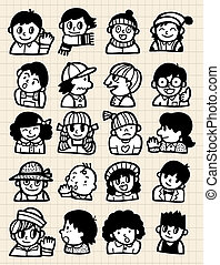 dessin animé, gens, griffonnage
