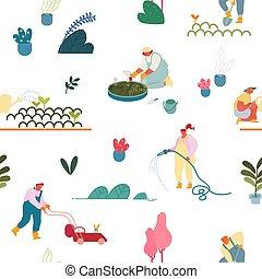 dessin animé, gens, habillement, papier, seamless, jardin, arbres, usines, ornement, planter, blanc, emballage, print., jardinage, tissu, illustration, soucier, modèle, plat, vecteur, arrière-plan.
