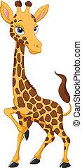 dessin animé, girafe