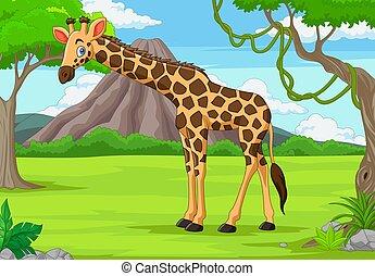 dessin animé, girafe, jungle
