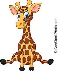 dessin animé, girafe, mignon