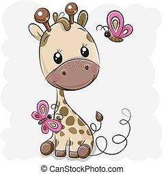 dessin animé, girafe, papillons, mignon