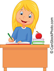 dessin animé, girl, étudier