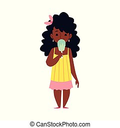 dessin animé, girl, américain, isolated., crème, manger, glace, plat, vecteur, illustration, africaine