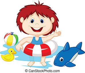 dessin animé, girl, flotter, inflatab