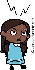 dessin animé, girl, noir, écoute