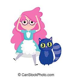 dessin animé, girl, pays merveilles, caractères, chat