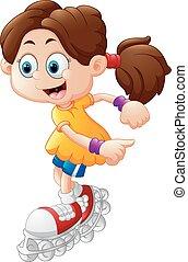 dessin animé, girl, rouleau patiner