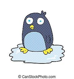 dessin animé, glace, manchots