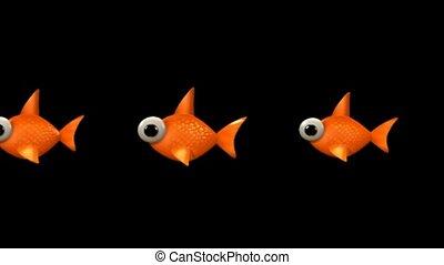 dessin animé, goldfish.