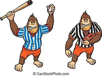 dessin animé, gorille, baseball jouant, et, rugby