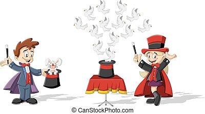 dessin animé, gosses, magicien