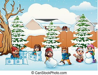 dessin animé, gosses, neige, jouer