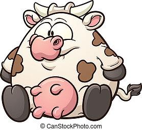 dessin animé, graisse, vache