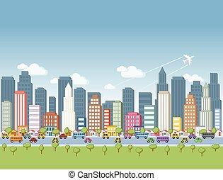 dessin animé, grand, coloré, ville